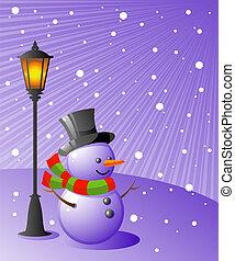 Snowman steht an einem verschneiten Abend unter einer Lampe
