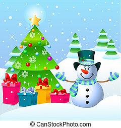 Snowman und Weihnachtsbaum