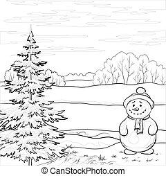 Snowman und Weihnachtsbaum, Contours