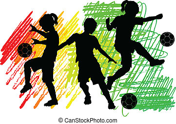 Soccer silhouettes Kindermädchen