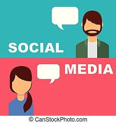 Social Media Banner Leute sprechen Blase reden.