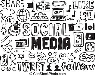 Social Media Doodles Elemente