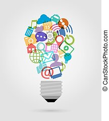 Social Media Glühbirnen Ikonen.