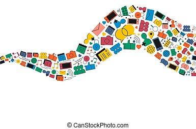 Social Media Internet Icon prägen die Illustration