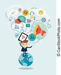 Social Media Konzept Illustration.