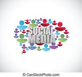 Social Media Leute sprechen Blase. Illustration