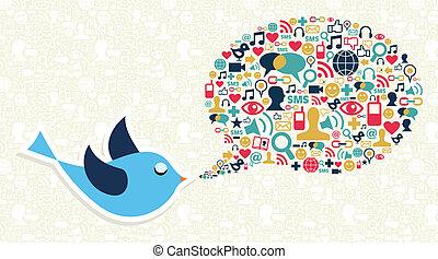 Social Media Market Marketing-Twitter Vogel-Konzept