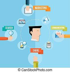 Social Media Marketing Konzept flache Illustration