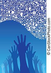 Social Media Network Ikonen und Hand