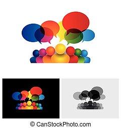 Social Media Vektor Icon der Kommunikation oder Mitarbeiter-Meeting oder Kinder sprechen