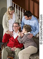 sofa, paar, erwachsener, daheim, älter, kinder
