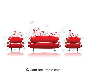 Sofa und Sesselrot