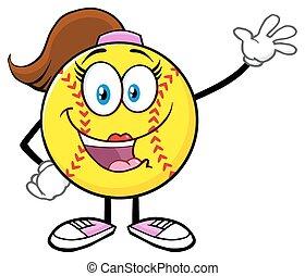 Softball-Mädchen winkt zum Gruß.