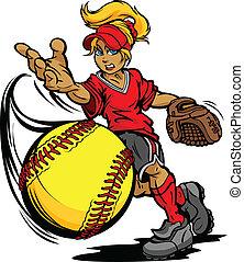 Softball-Turnier, Kunst eines Fastpitch-Balls, geworfen von einem schnellen Wurf-Softball-Karikaturvektor-Illustration