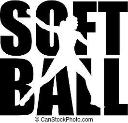 Softball-Wort mit Silhouette-Ausschnitt.