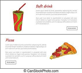 Softdrink und Pizza Scheibe Vektorgrafik