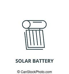 Solar Akku-Anzeigen Vektorlinie Icon, lineares Konzept, Umrisszeichen, Symbol.