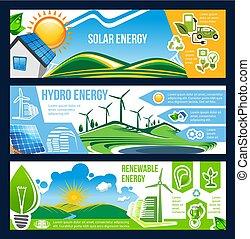 Solar-, Wind- und Wasserenergie-Banner grüner Energie