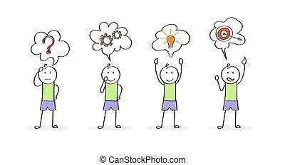 solving., start, geschaeftswelt, character., einführung, problem, stadien, karikatur