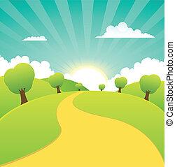 sommer, fruehjahr, ländlich, jahreszeiten, oder, landschaftsbild