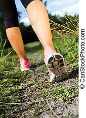 sommer, gehen, natur, wald, rennender , aktivität, beine, oder