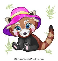 sommer, m�dchen, roter panda, rosa, begriff, urlaub, hut