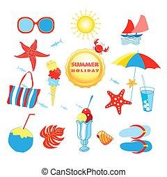 Sommer mit verschiedenen isolierten Objekten.