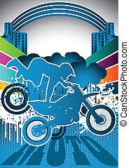 Sommer-Motorrad-Poster abbrechen