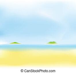 sommer, sandstrand, hintergrund, verwischen