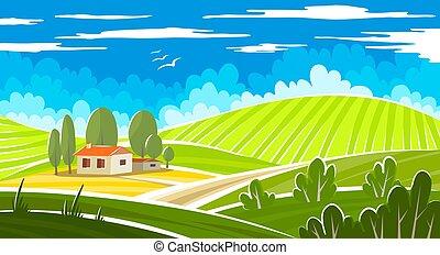 sommer, schöne , landschaftsbild, farmhouse.