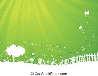 sommer, vlinders, kleingarten, hintergrund, fruehjahr