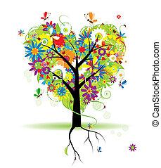 Sommerblumenbaum, Herzform.