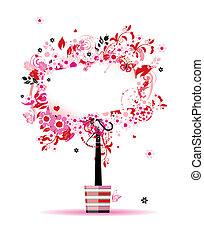 Sommerblumenbaum in Topf für Ihr Design.