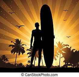 Sommerferien, Mann mit Surfbrett