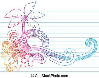 Sommerferien-Strand-Doodle