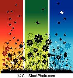 Sommergeschichte abbrechen, Blumen und Schmetterlinge
