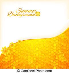 Sommerhintergrund mit Honig abbrechen