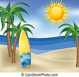 Sommerhintergrund mit Surfbrett