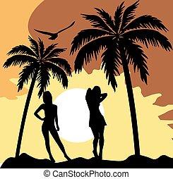 Sommerkarte mit Frauen Silhouette