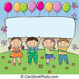 Sommerkinder haben ein leeres Banner