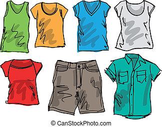 Sommerkleidungsskizzensammlung. Vektor Illustration