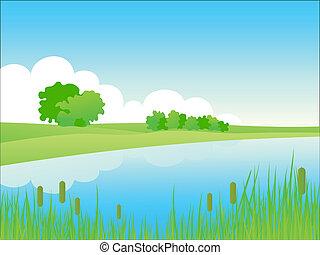 Sommerlandschaft am Fluss.