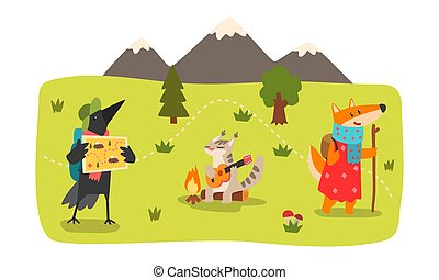sommerlandschaft, charaktere, wandern, krähe, satz, tiere, katz, fuchs, abbildung, vektor, camping, berg