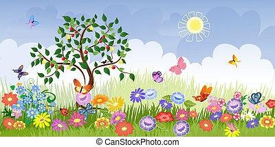 Sommerlandschaft mit Obstbäumen