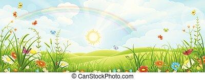 Sommerlandschaft mit Regenbogen.