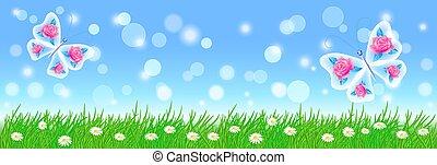 Sommerlandschaft mit Schmetterlingen, Wiesenblumen und grünem Gras.