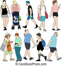 Sommerleute einkaufen.