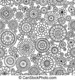 Sommermuster mit stilisierten Blumen im Kreis.