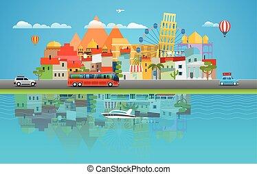 Sommerreisekonzept. Asia Cityscape Reise Illustration