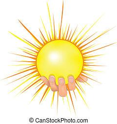Sonne in Menschen Hand Vektorgrafik.